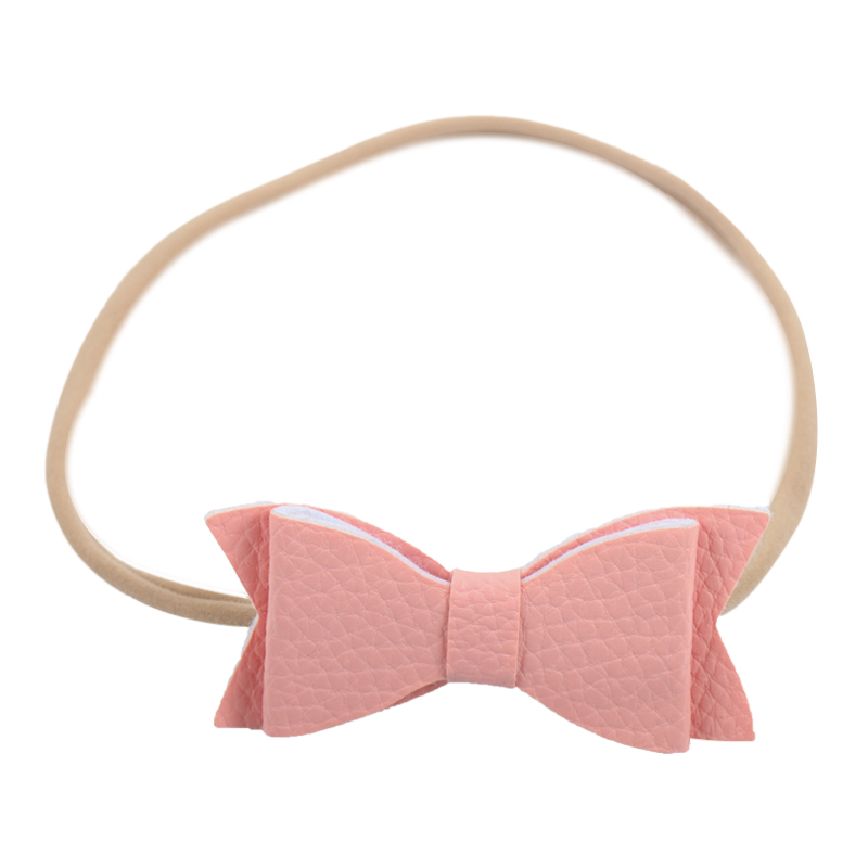 Lovely Solid Handmade Nylon Headband With Two Layer Leather Bow Hair Band For Kids Girls Boutique Hair Accessories