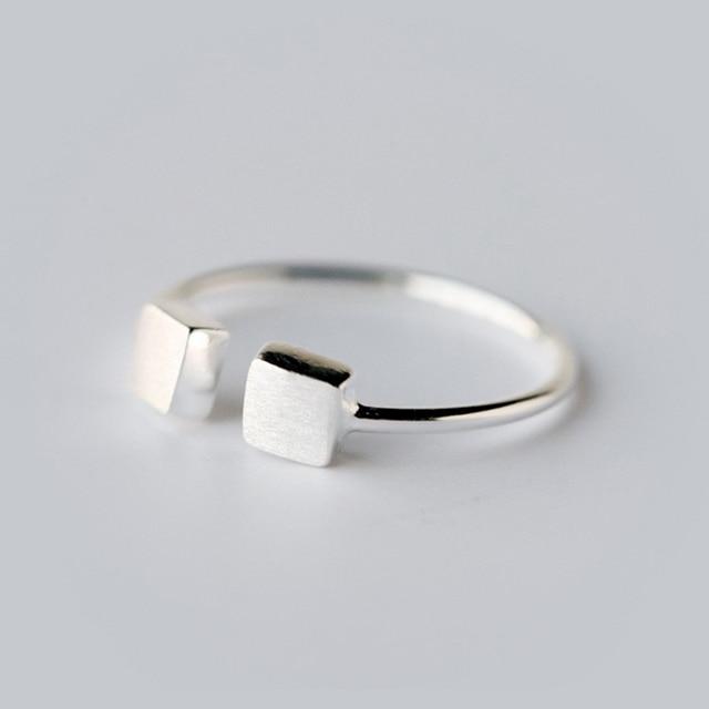 QIMING géométrique rétro bijoux accessoires véritable argent Double Cube carré anneau ouvert bijoux anneaux pour les femmes
