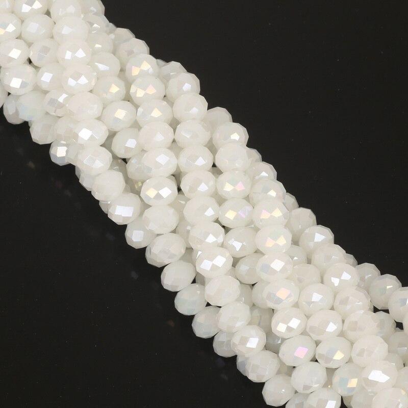 2, 3, 4, 6, 8 мм около 70-195 шт хрустальные бусины AB разноцветные стеклянные бусины Sapcer для изготовления ювелирных изделий DIY браслет ручной работы оптом - Цвет: Jade White AB