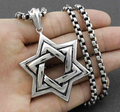 Silver  High Quality Men Biker Jewish STAR OF DAVID Pendant Necklace Stainless Steel Jewelry With Rolo Chain Cool Mens Jewelry