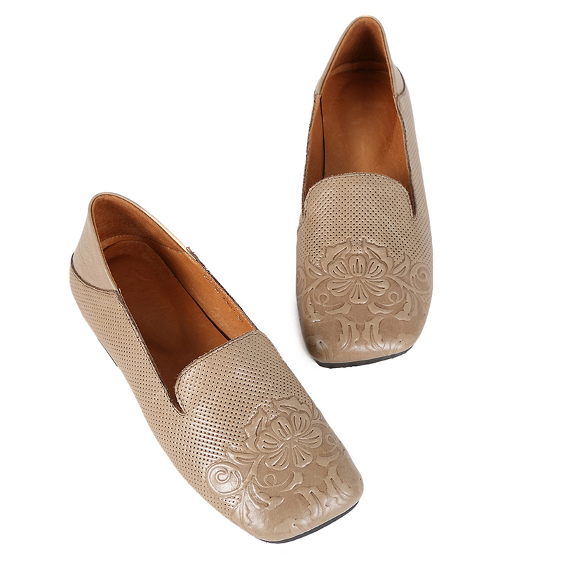 HUIZUMEI Manufacturing unit For Sale New Types 2019 Hand Carved Embossing Sq. Toes Flat Footwear Fretwork Ladies's Flats, Low-cost Ladies's Flats, HUIZUMEI Manufacturing unit For Sale New Types 2019...