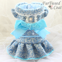 Free shipping handmade luxurious dog clothes Paris sky blue thickened gold thread tweed