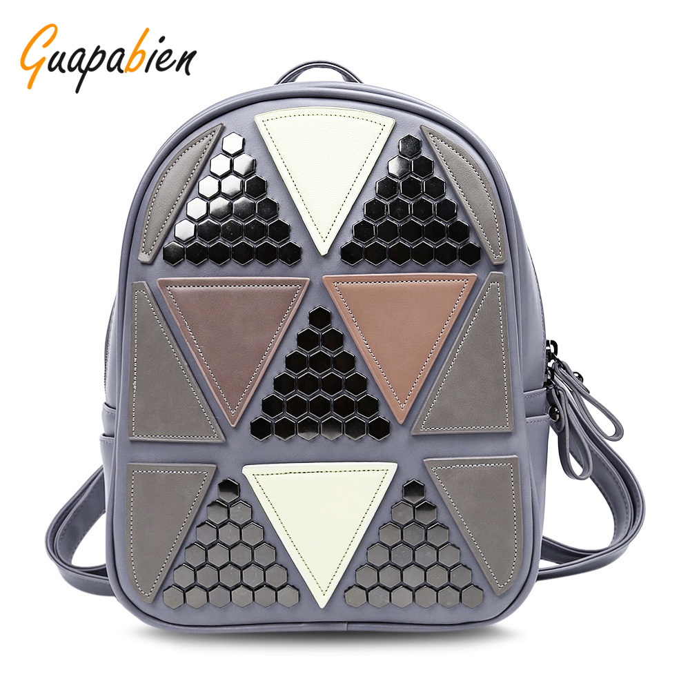 New Arrival Stylish Style PU Leather Backpacks Women Backpack Teenagers Geometric Patchwork Female School Bags Girls Mochila new arrival women pu leather backpacks female school bags for teenagers simple couple shoulder bag string bag mochila feminina