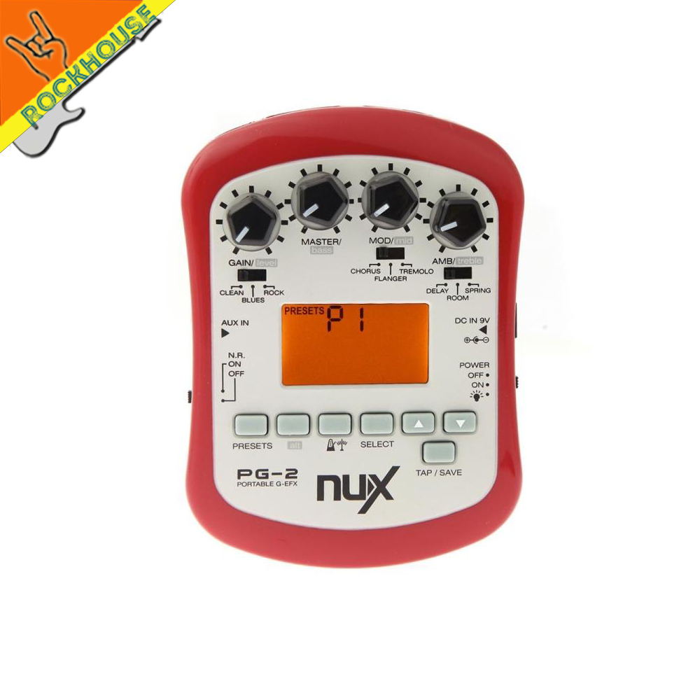 NUX PG-2 Portable Electric Guitar Multi-Effects Processor Effects with Distortion Blues Overdrive Chorus Flanger Delay Reverb nux pmx 2 multi channel mini mixer 30