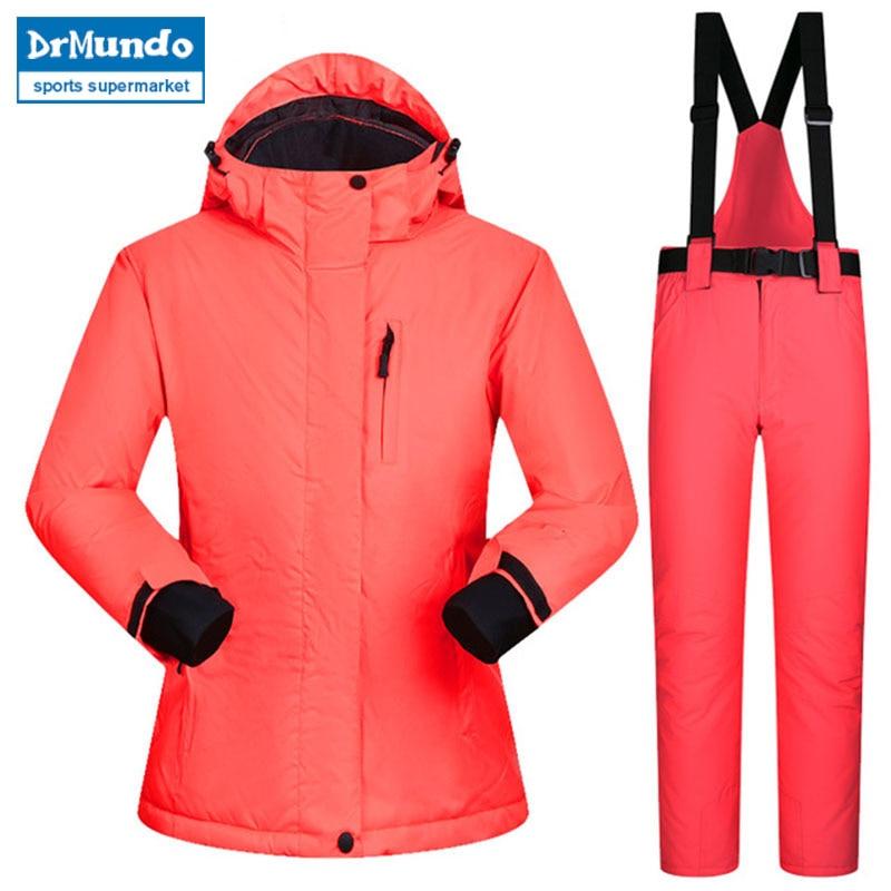 2018 snowboard costumes femmes hiver coupe-vent imperméable femme veste de Ski et pantalons de neige ensembles Super chaud marques femmes Ski costume
