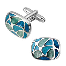 High quality fashion men's shirts Cufflinks Oval Blue Enamel Cufflinks brass material wholesale and retail
