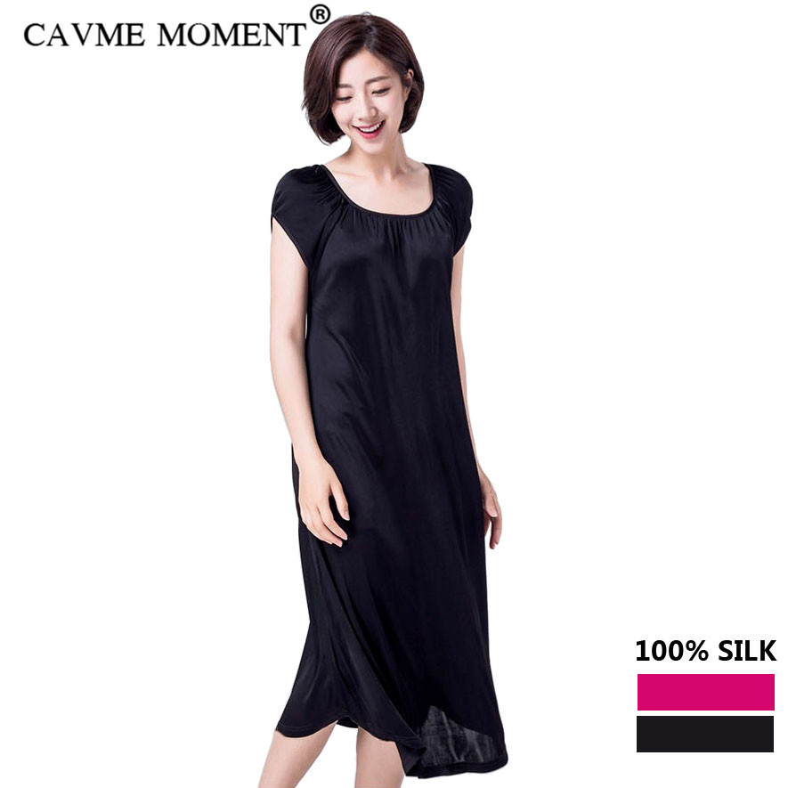 CAVME Real Silk Plus Size Long Nightgown Short Sleeve Sleepshirts Sleepwear Nightdress Solid Color Round Neck Hot Pink Black