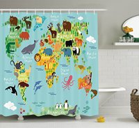 Memory Home Animal Map Of The World For Children Kids Cartoon Forests Polyester Fabric Bathroom Shower
