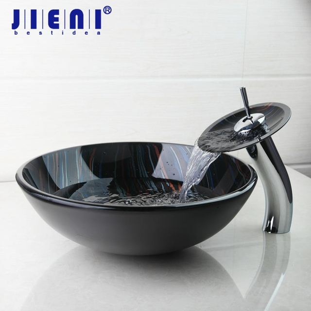 Charmant BEST Modern Tempered Glass Basin Bowl Sinks / Vessel Hand Painting Basins  With Brass Faucet Taps