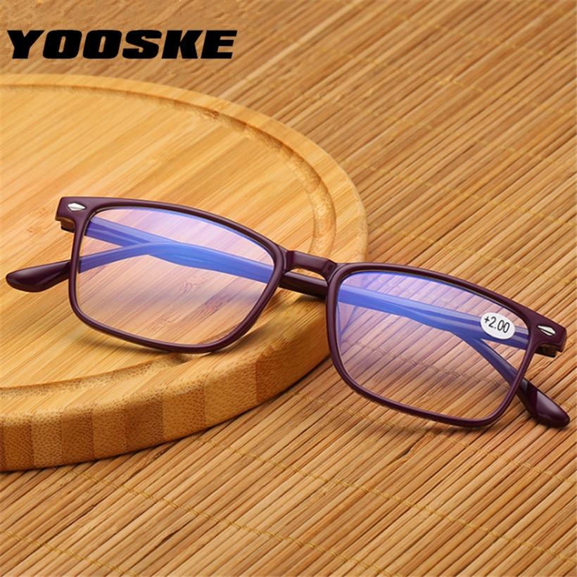 YOOSKE Men's Reading Glasses TR90 Presbyopia reading eyeglasses Blue Film Female Male Presbyopic Glasses +1.0 1.5 2.0 2.5 3.0