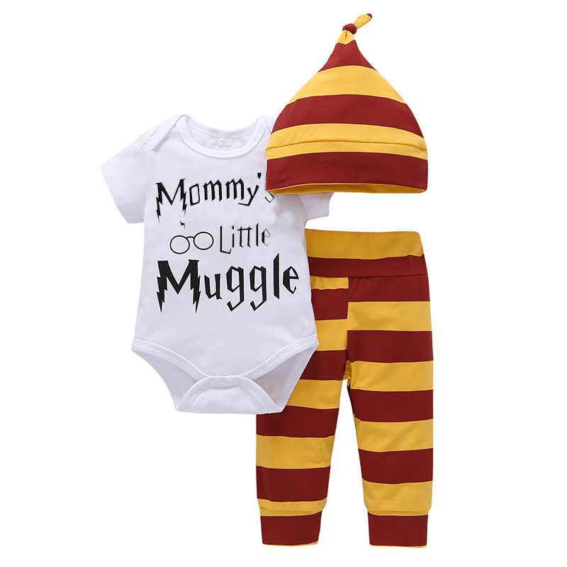 35d644f1475 3Pieces Children Baby Clothing Sets 2018 Summer Mommy s Little Muggletops  +Harri Potter Pants+Hat