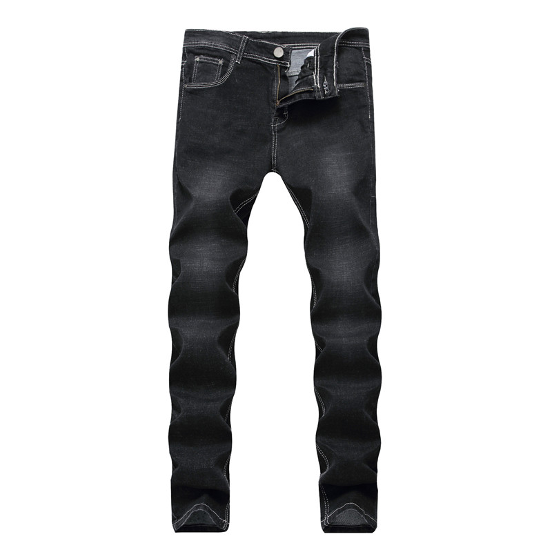 Men Jeans Stretch Straight Slim Jeans Male Retro Solid Back Patchwork Fashion Denim Trousers Casual Jeans