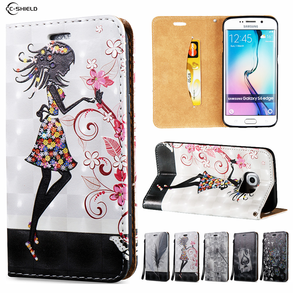 3D Flip Case for Samsung Galaxy S6 Edge S6Edge S6E G925F SM-G925F G925J SM-G925J Wallet Leather Case Stand Card Hold Phone Cover