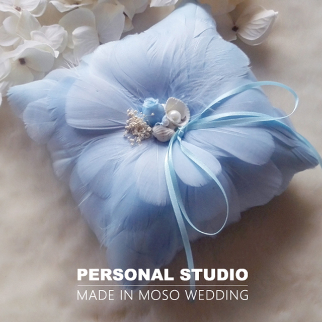 Ight Blue Feather Ring Pillow For Wedding Beach Themed Pillows