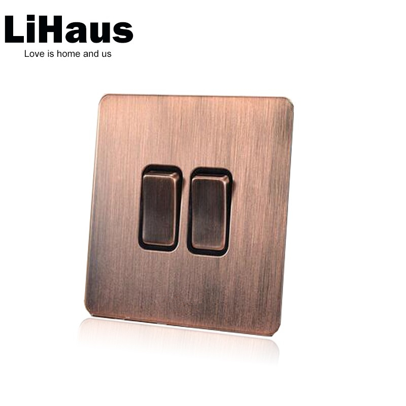 все цены на 2 gang 2 way wall switch AC110-250V light switch and lamp pull switch,UK Standard 220V push button switch онлайн