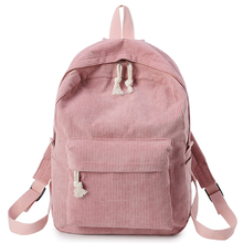 Backpack Women Female Corduroy Design School Backpacks For Teenage Girls Striped Book Bag Preppy Style цена