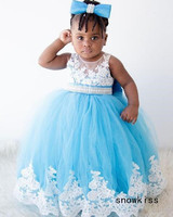 Turchese blu sheer lace appliques Arabo toddler pageant abito con strass luccicanti baby girl birthday party prom dresses