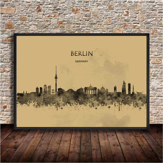 Abstract city painting berlin germany krafts paper watercolor print poster wall sticker living room cafe bar