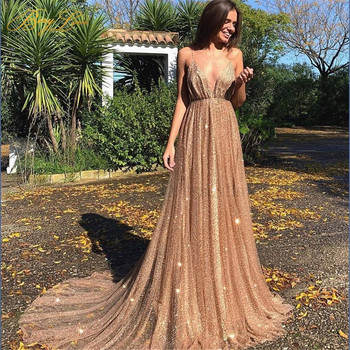 BeryLove Gold Champagne Long Glitter Evening Dress 2019 Formal Party Gown Sexy V Neck Prom Open Back Spaghetti Straps Long Dress