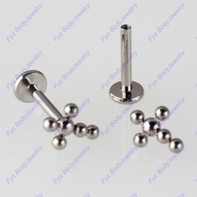 G23 Titanio Croce Filettatura Interna 16G Labret Lip Piercing Opal Ear Cartilagine Helix Trago Stud Monili per il corpo e Piercing
