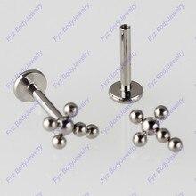 G23 Titanium Cross Internal Thread 16G Labret Lip Piercing Opal Ear Cartilage Helix Tragus Stud Body Jewelry