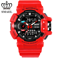 SMAEL Dual Display Watch Men Women Quartz Watches Montre LED Digital Dive Navy Army S Shock