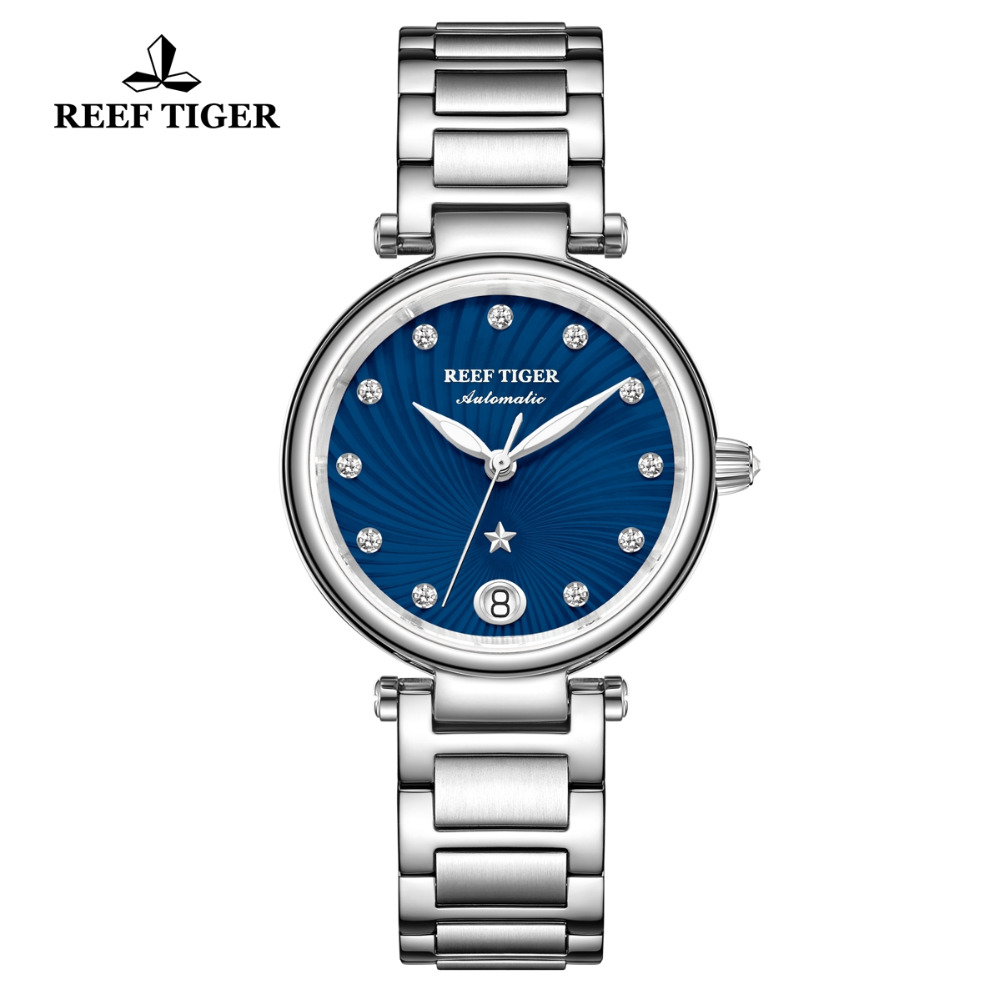 Reef Tiger/RT 2019 Brand Luxury Ladies Watch Sapphire Glass Automatic Watch for Women Blue Dial Steel Bracelet Watches RGA1590Reef Tiger/RT 2019 Brand Luxury Ladies Watch Sapphire Glass Automatic Watch for Women Blue Dial Steel Bracelet Watches RGA1590