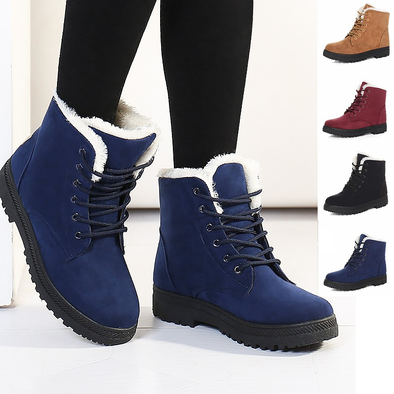 New arrival fur women snow boots 2017 fashion warm plush winter ankle boots women shoes