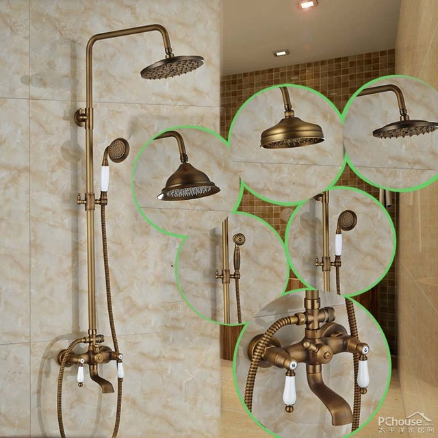 2016 New Arrival Best Quality 8 Inches Showerhead With Dual Ceramic Handles  Adjust Height Shower Faucet