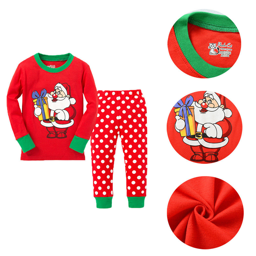2017 New year kids clothes children clothing set christmas pajamas set Boy Girl Xmas Santa Nightwear Sets Sleepwear Outfits 2-8Y baby nightwear pajama suit for children pajamas for boys with long sleeve kids pjs sleepwear set children s clothing 1 2 4 year