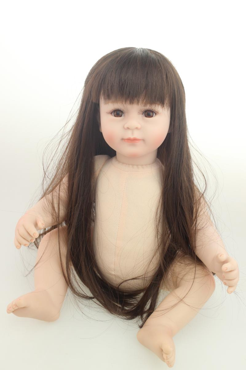 20 Silicone Doll Reborn Baby girl naked doll 52 CM realistic Handmade Cloth Body Babies nude Doll Toys for Children Best Gift