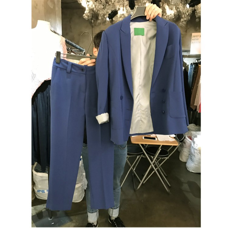 Women's suit 2019 spring new fashion loose temperament long suit jacket harem pants two sets of temperament solid color clothes