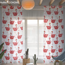 Anime Flamingo Sheer Curtains Red Tulle Curtain for Kitchen Living Room Bedroom Windows Modern Treatment Panel