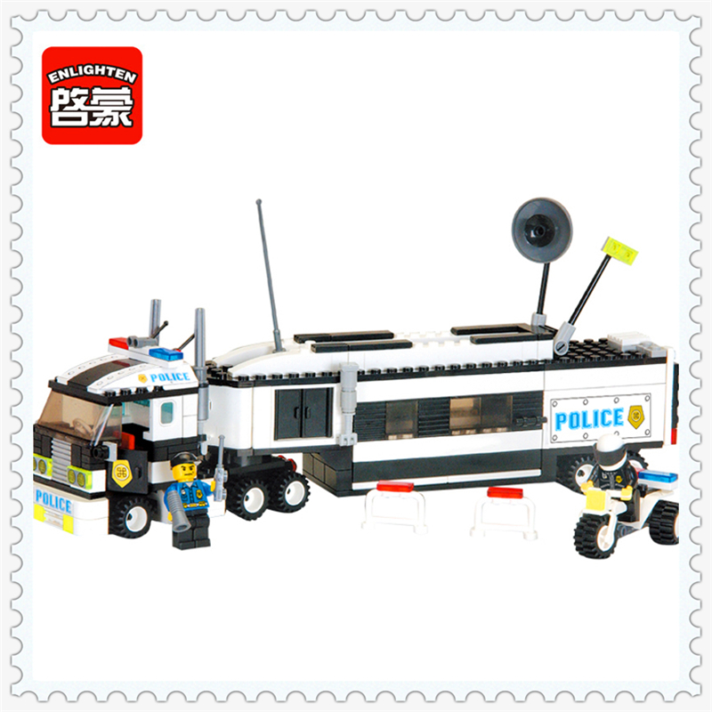 ENLIGHTEN 128 City Police Truck Riot Tracking Model Building Block 325Pcs Educational  Toys For Children Compatible Legoe jie star police pickup truck 3 kinds deformations city police building block toys for children boys diy police block toy 20026