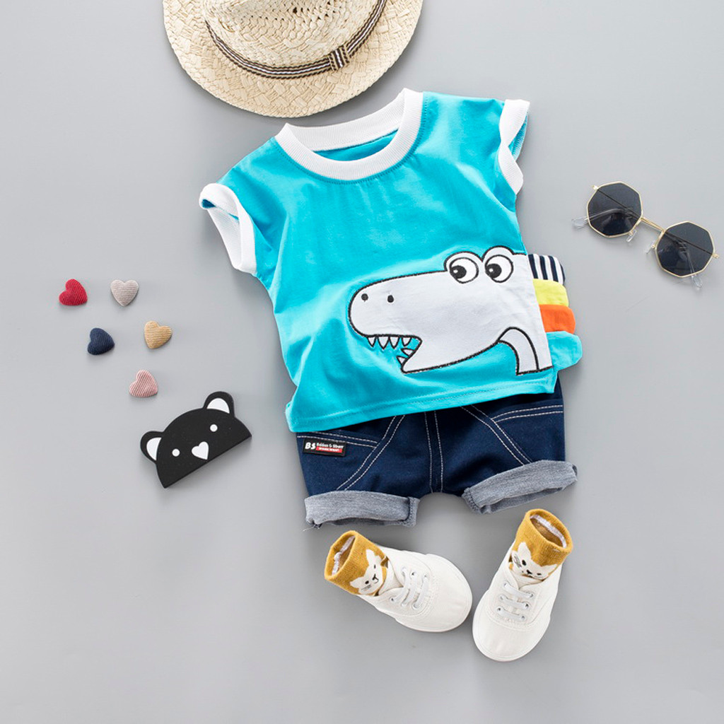 9a3e36b8a475 Baby Boys Clothes Sets Spring Summer Fashion Leisure Lion T-shirt + Navy  Shorts Newborn Baby Girl Clothes Kids Bebes Suit