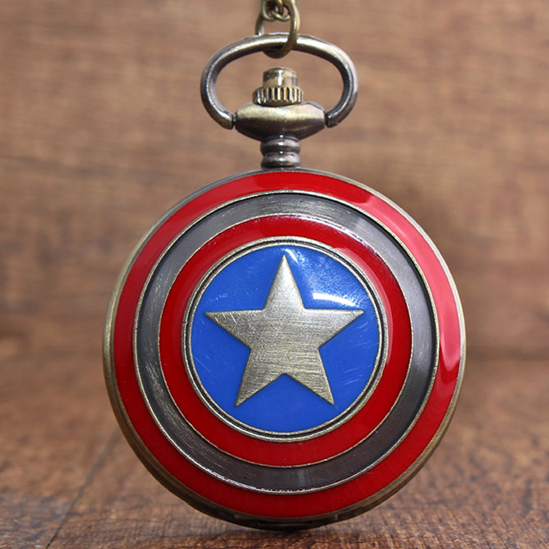 Vintage Captain American Copper Pocket Watch Retro Marvel Comics Star Shield Fob Watch With Chain Pendant Children Gift