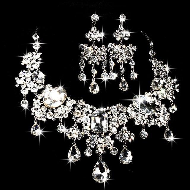 Мода свадебные ювелирные наборы большой стекло ожерелье цветок серьги новая две части украшения высокого класса свадебные аксессуары