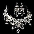 A moda nupcial conjuntos de jóias grande colar de vidro flor brincos novo two-pieces acessórios do casamento de jóias high-end