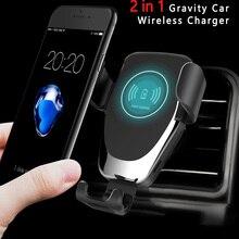 2 en 1 cargador de coche inalámbrico rápido 10W soporte de teléfono de gravedad para Samsung cargador inalámbrico carga rápida coche soporte de montaje soporte para huawei p30 pro carga