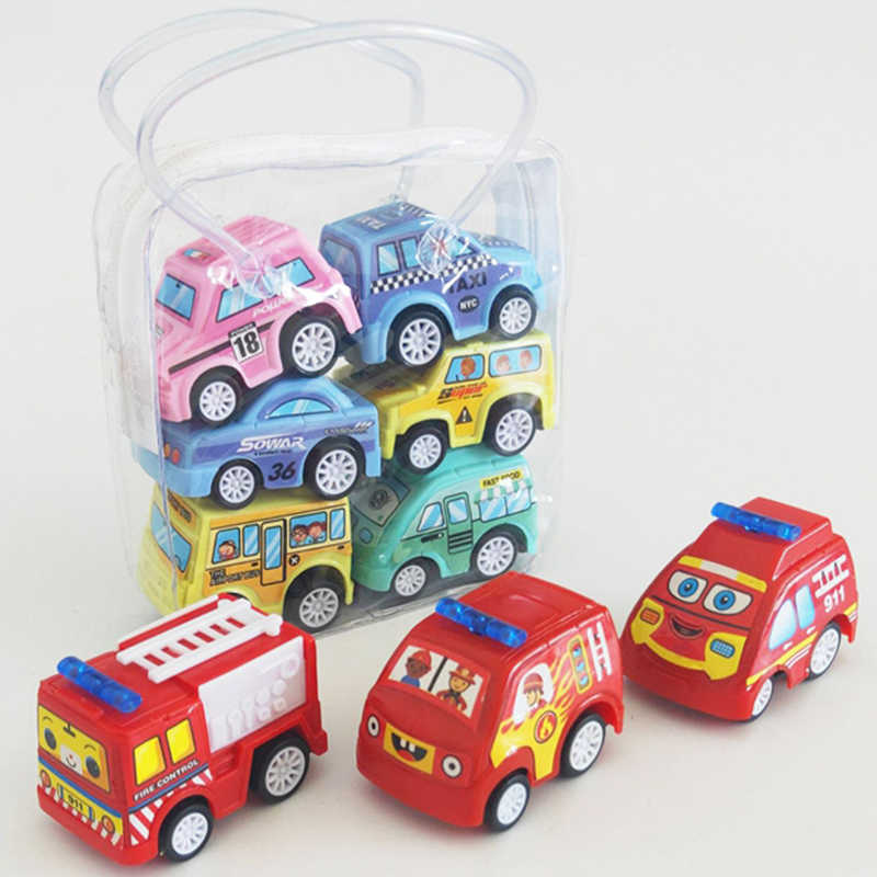 6pcs/lot Baby Kids Car Toy Pull Back Car Fire Truck Taxi Engineering Vehicle Model Mini Cars Interactive Toys For Children Gifts