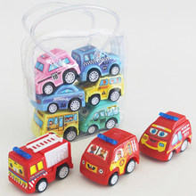 6pcs/lot Baby Kids Car Toy Pull Back Car Fire Truck Taxi Engineering Vehicle Model Mini Cars Interactive Toys For Children Gifts(China)