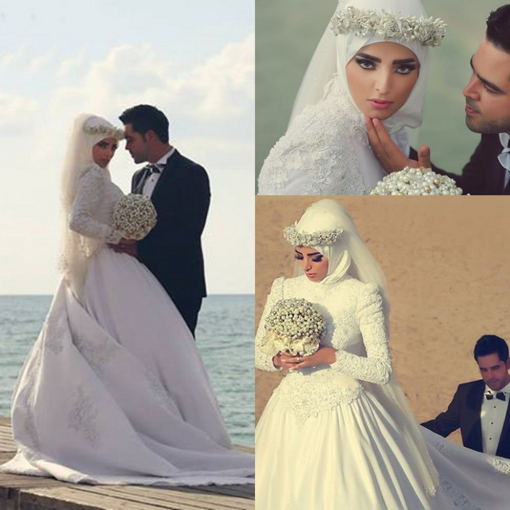 Ball gown high neck long sleeve muslim wedding dress with for Dresses for muslim wedding