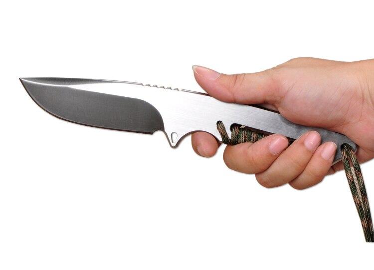 60HRC D2 hoja enteriza + color sólido cuerda caza cuchillo fijo al ...