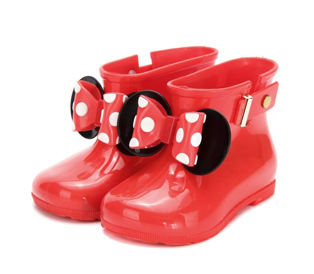 2019 Hot New Mini Melissa Kids Rain Boots Mickey Minnie PVC Bow 3 Colors Girls Shoes Boot Keep  Boots Girls Rainboots