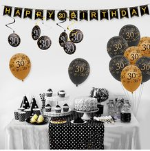 HUIRAN Black Gold Adult 30th 40th 50th Birthday Party Decorations Supplies 30 40 50 Happy Birthday Banner Balloons Tableware(China)