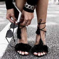 Brand design Gladiator High Heel Sandals 2016 Lady Sexy Tassel Sandals Shoes Woman Strappy Open Toe Summer Dress Party Shoes Red