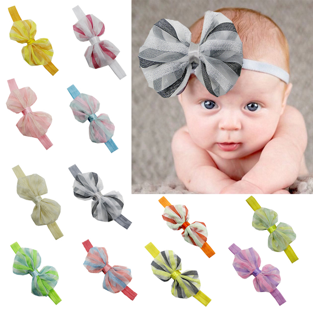 12pcs Infant Striped Chiffon Bow Headbands Babies Children Hairband Toddler Baby Girls Bowknot Headband Headwear Accessoires