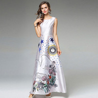High Quality 2018 Runway Maxi Dress Women S Wrist Sleeve Horse With Wings Floral Printed Casual