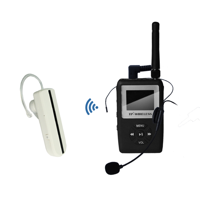 TP-WIRELESS UHF WTAG05 Wireless Tour Guide System Mini Earhook Receiver Wireless transmitter system 1 Transmitter 1 receiver