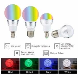 Image 4 - LED RGB Bulb 3W 5W E27 E14 16 Color Changing RGB Magic Light Bulb Lamp 85 265V 110V 220V RGB Led Spotlight with Remote Control